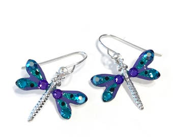 Dragonfly Earrings - Dragonfly Jewelry - Sparkling Purple and Green