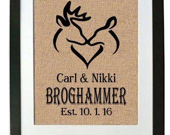 Deer Burlap Wedding Print for Couple - Hunting Wedding Gift for Him - Hunters Wedding Gift - Gift for a Hunter - Subway Art - Burlap Print