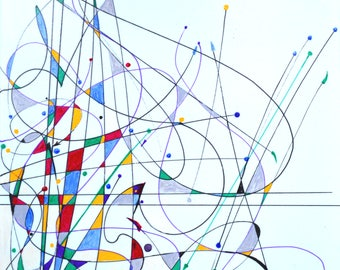 abstract number 5, original was acrylic paint,giclee canvas prints, lines and color,