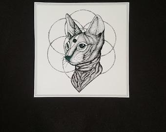 Sphynx kitty rose gold foil print
