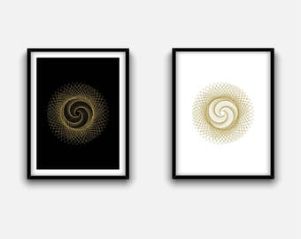 Two sacred geometry posters, spiritual art, golden ratio, alchemy symbol poster