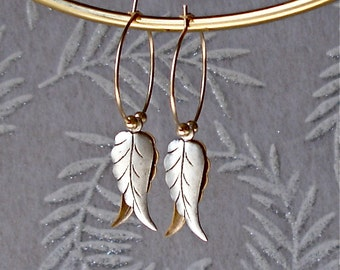 Boho Leaf Hoop Earrings Minimalist Nature Jewelry Art Nouveau Silver Gold Filled Vintage Wedding Bride Bridesmaid Anniversary Birthday Gift