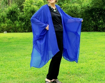 Royal Blue Imitation Silk Ruana, Shawl, Caftan, Kimono, Coverup or Wrap--Beautiful Blue Butterfly Wing--One Size Fits Most Gypsies