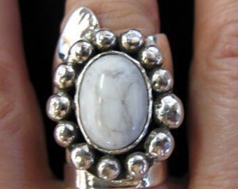 Stevie Nicks Inspired Statement Ring with 18x13mm Oval Gemstone, OOAK, Handmade, Sterling Silver, Victorian Jewelry