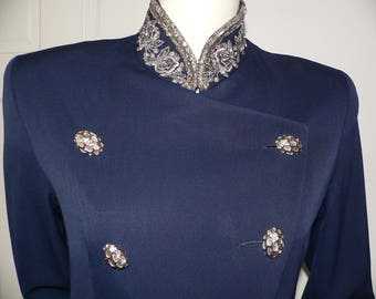 1980s  Beaded Blazer /Jacket Navy Gabardine Wool /Military Style Blazer with Beading and  Button Accents by Yolanda