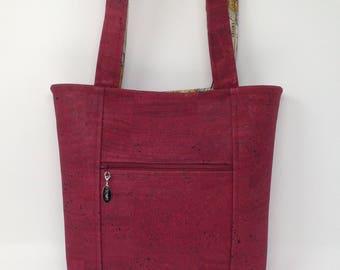 Beautiful Wine Color Cork Handbag