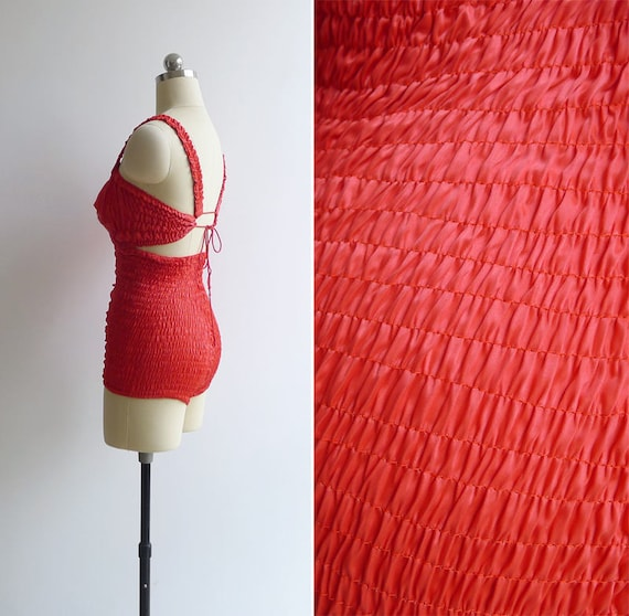 'MARTIN M WHITE' 40's Swimsuit Vintage Cherry Telescopic XS Red S Smocked 5xASSvw