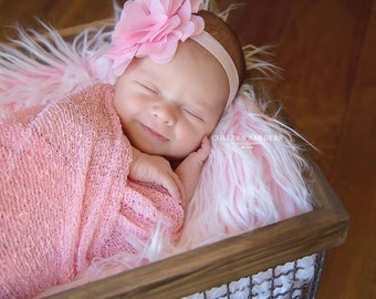 SET Frosted Light Pink Mongolian Faux Fur and Pink Newborn Stretch Knit Baby Wrap Photography Photo Prop