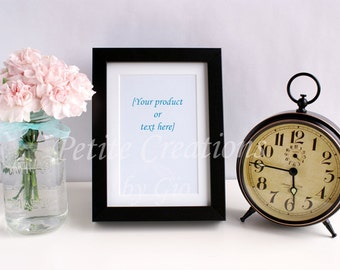 Styled Stock Photography, Pink Carnations in Mason Jar, Black Frame, and Old Fashion Clock