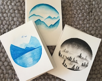 Set of 3 mountain themed cards
