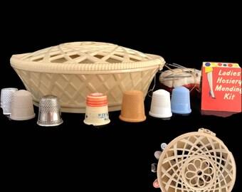 Vintage Sewing Box Round Plastic Box with Contents Vintage Thimbles Needles Nylon Stocking Darning Kit Pin Cushion Sewing Kit Storage