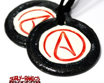 Atheist Symbol Ceramic Necklace in Black, Red and Silver