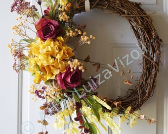 Fall Wreath,Door wreath, Hydrangea Roses Wreath,Roses Wreath Original Handmade