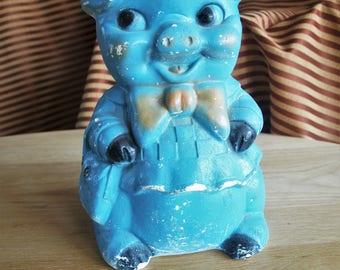 "Large Vintage Chalk Piggy Bank – Blue – 11.5"" tall"