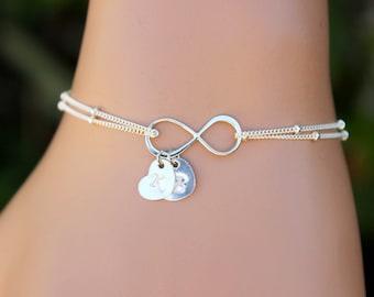 Valentine Heart Bracelet, Infinity Bracelet , Initial Bracelet ,Bridesmaids, Monogram,Friendship, Heart initial bracelet, Personalized Gifts
