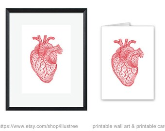 Printable love card and art print, unique wedding gift, anniversary, red human heart, geometric heart, polygon heart, instant download