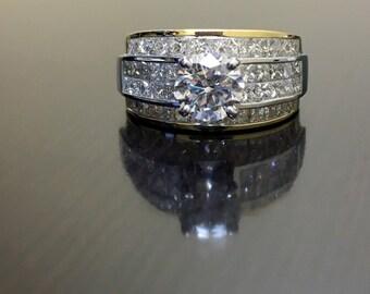 14K Two Tone Gold Diamond Engagement Ring - 14K Gold Invisible Diamond Wedding Ring - GIA Diamond Ring - Two Tone Diamond Princess Cut Ring