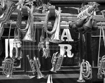 Portobello musical instruments by Amanda sapp black and white photograph 8 x 10