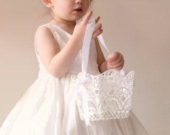 "Lace flower girl basket, White lace basket, Simple flower girl bag, Stiffened crochet wedding lace, Classic white lace basket 4"", 5"" or 6"""