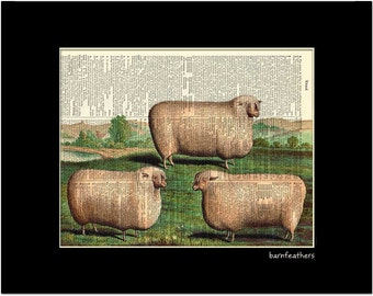 Pink Sheep - Vintage Dictionary Art Print - Shabby Chic Decor - Book Page Print No. P352