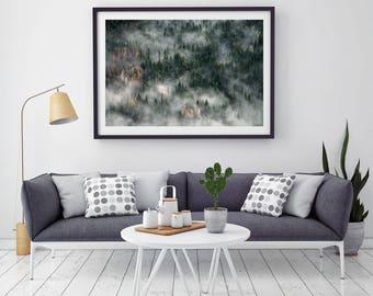Forest Mountain Landscape, Digital Print, Instant Download, Wall Art Photography, Scandinavian style, Home Decor, Mist, Fog, Green, Trees