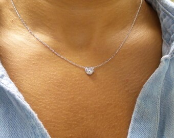 Solitaire Necklace/ CZ Necklace Sterling Silver/ Dainty Solitaire Necklace/ Minimalist Necklace/ Solitaire Bezel Pendant/Floating Diamond CZ