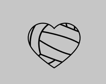 Volleyball Heart Monogram Decal Heart Volleyball Name Decal