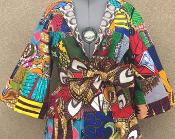 African Wax Print Patchwork Jacket Fully Lined With Optional Tie Belt 100% Cotton