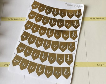 Foiled Weekend Flag Planner Stickers