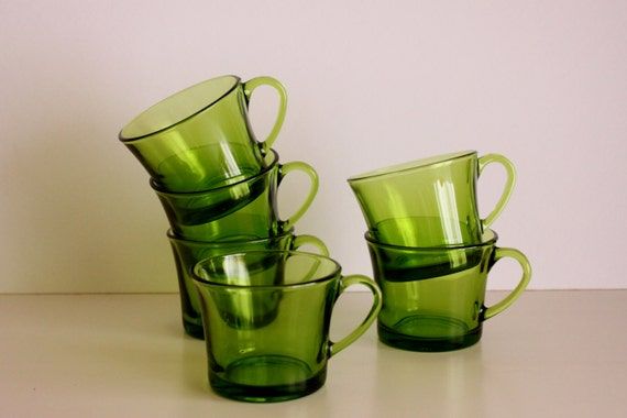 Vintage Set of 6 Espresso Cups, Green French Vintage Cups, DURALEX Green Glass Espresso Cups