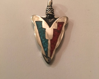 Native American Navajo handmade Sterling Silver inlay Turquoise and Coral arrowhead pendant