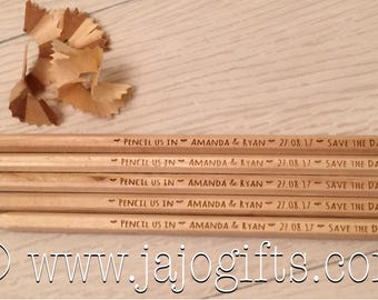 Personalised engraved natural wood quirky save the date pencils for wedding invites