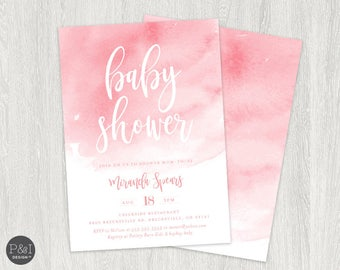 Pink Watercolor Baby Shower Invitation   It's a Girl   5x7 Printable Digital File