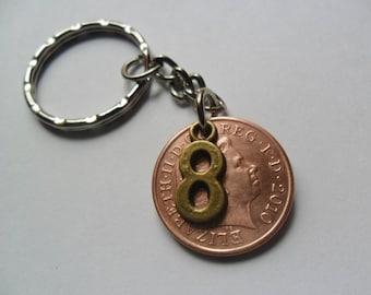 8th anniversary Bronze anniversary 2010 British coin key chain 8th anniversary gift for a man 8th anniversary gift for a woman
