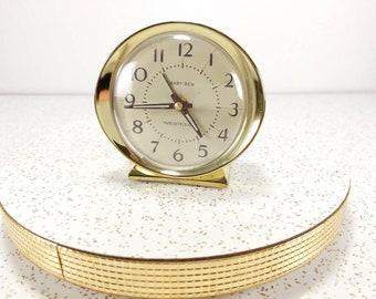 Vintage Westclox Baby Ben Alarm Clock - Vintage Bedside Alarm Clock - 60's Wind-Up Clock White and Gold