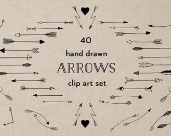 Black arrows clip art, hand drawn tribal arrows, arrow clipart, hand drawn arrows, black, doodle