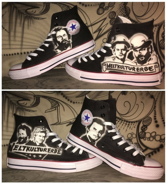 fetching how to design converse shoes at home. Airbrushed converse Chuck Marty bud spencer  terence hill handpainted art sneaker shoes UNIQUE
