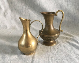 Small Vintage Brass Pitchers, Set of 2