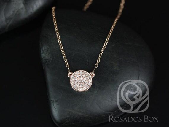Rosados Box Diskco 7mm 14kt Rose Gold Diamond Pave Floating Disk Necklace