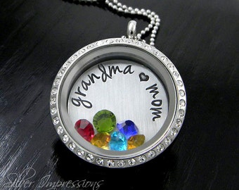 Floating Locket / Grandma Mom Locket / Grandma Necklace / Hand Stamped Jewelry