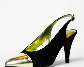 Authentic CHANEL Vintage Pointed Metallic Gold Cap Toe Black Satin Slingback Pumps with Rhinestone Buckle, Women's Size US 8 | IT 38