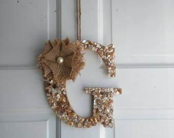 Seashell and Burlap Door Decor