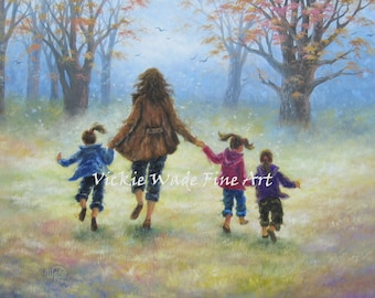Mother Three Daughters Art Print, three girls, mom, wall art, motherhood, three sisters, mother's day gift, art, painting, Vickie Wade art