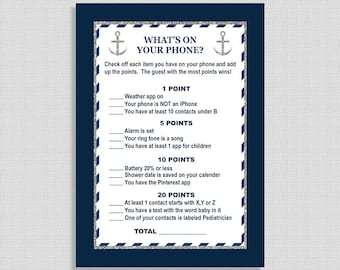 What's On Your Phone Baby Shower Game, Nautical Navy & Silver Anchor, Search Cell Shower Game, INSTANT PRINTABLE