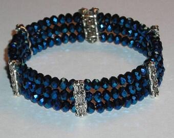 Cobalt Blue Faceted Rondelle Bead Cuff