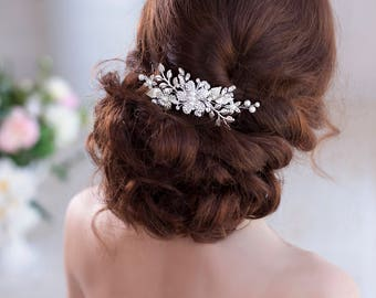 Silver hair comb Leaf hair comb Wedding hair comb Bridal hair comb Flower hair comb Crystal hair comb Bridal comb Wedding comb Silver comb