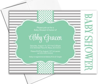 Gender neutral baby shower invitations | mint and gray baby shower invites | printable or printed - WLP00712