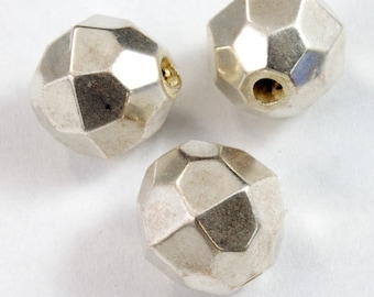 10mm Faceted Silver Tone Bead (6 Pcs) #2330