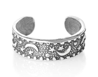 Sterling Silver Moon and Stars Toe Ring