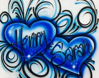 Airbrush Hearts and Swirls Couples Shirt